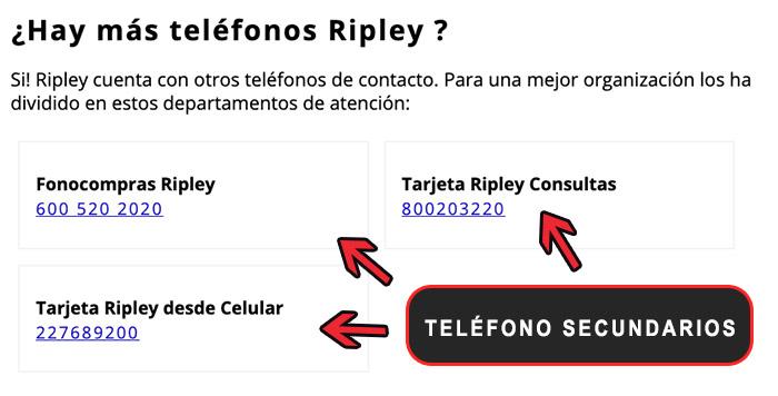 Telefonos de servicio al cliente secundarios